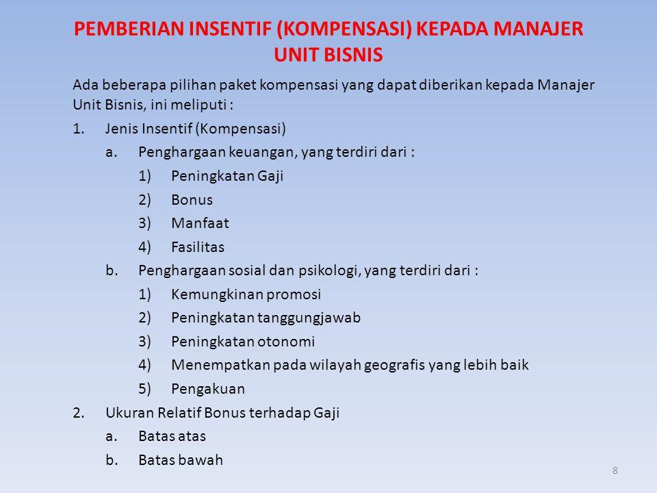 8 PEMBERIAN INSENTIF (KOMPENSASI) KEPADA MANAJER UNIT BISNIS Ada beberapa pilihan paket kompensasi yang dapat diberikan kepada Manajer Unit Bisnis, in