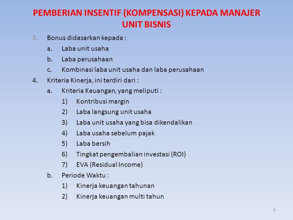 9 PEMBERIAN INSENTIF (KOMPENSASI) KEPADA MANAJER UNIT BISNIS 3. Bonus didasarkan kepada : a. Laba unit usaha b. Laba perusahaan c. Kombinasi laba unit