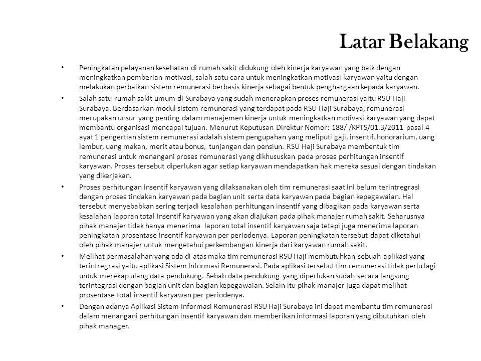 Perumusan Masalah 1)Bagaimana merancang dan membuat sistem informasi remunerasi di RSU Haji Surabaya.