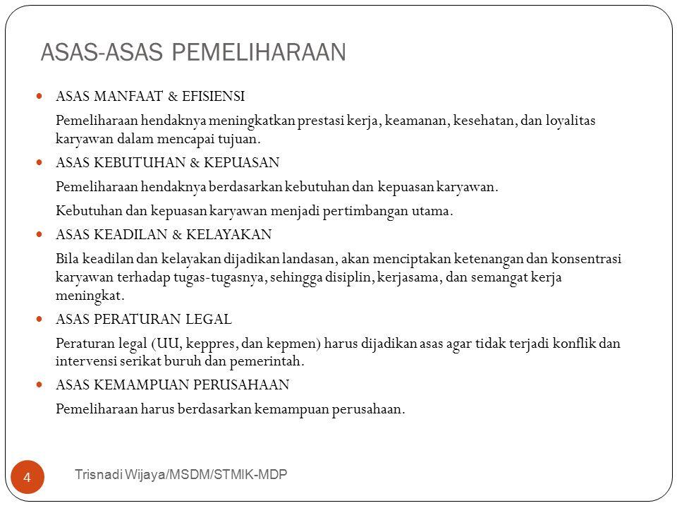 ASAS-ASAS PEMELIHARAAN Trisnadi Wijaya/MSDM/STMIK-MDP 4 ASAS MANFAAT & EFISIENSI Pemeliharaan hendaknya meningkatkan prestasi kerja, keamanan, kesehat