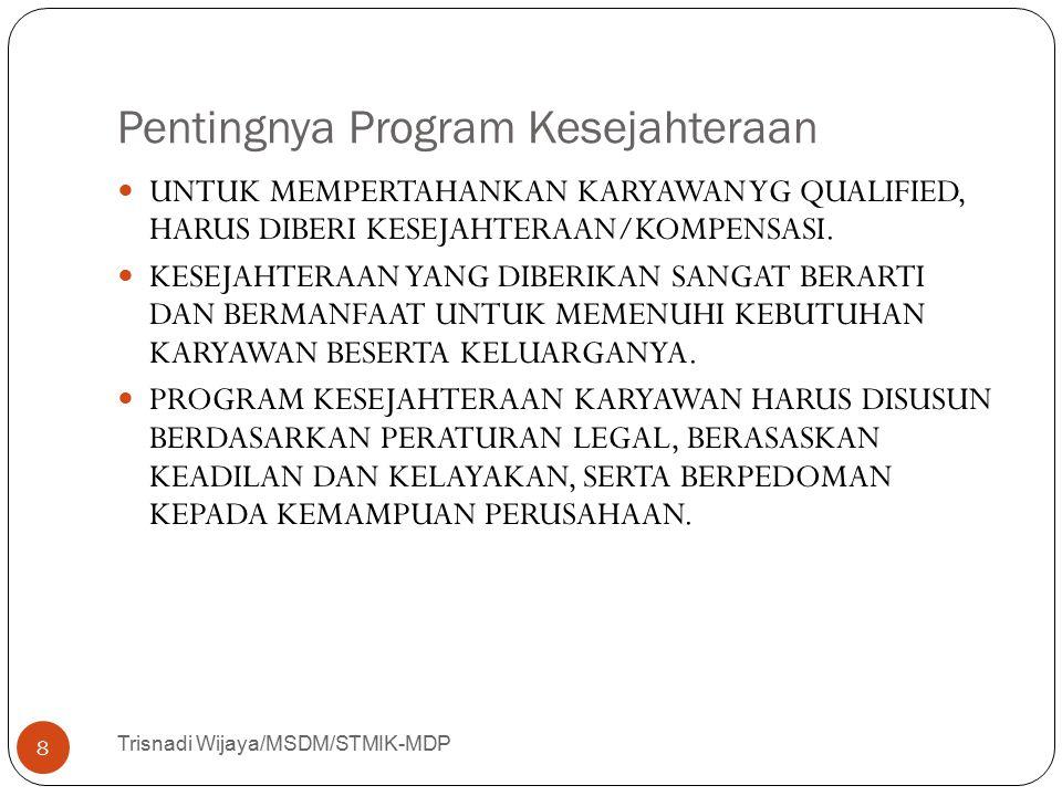 Pentingnya Program Kesejahteraan Trisnadi Wijaya/MSDM/STMIK-MDP 8 UNTUK MEMPERTAHANKAN KARYAWAN YG QUALIFIED, HARUS DIBERI KESEJAHTERAAN/KOMPENSASI. K