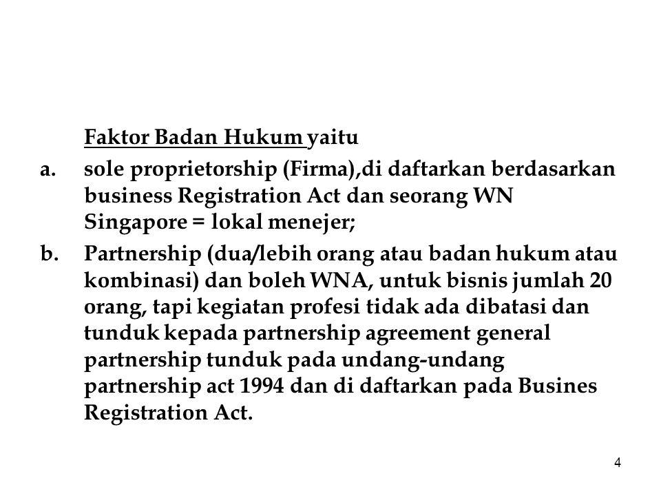 4 Faktor Badan Hukum yaitu a.sole proprietorship (Firma),di daftarkan berdasarkan business Registration Act dan seorang WN Singapore = lokal menejer; b.Partnership (dua/lebih orang atau badan hukum atau kombinasi) dan boleh WNA, untuk bisnis jumlah 20 orang, tapi kegiatan profesi tidak ada dibatasi dan tunduk kepada partnership agreement general partnership tunduk pada undang-undang partnership act 1994 dan di daftarkan pada Busines Registration Act.