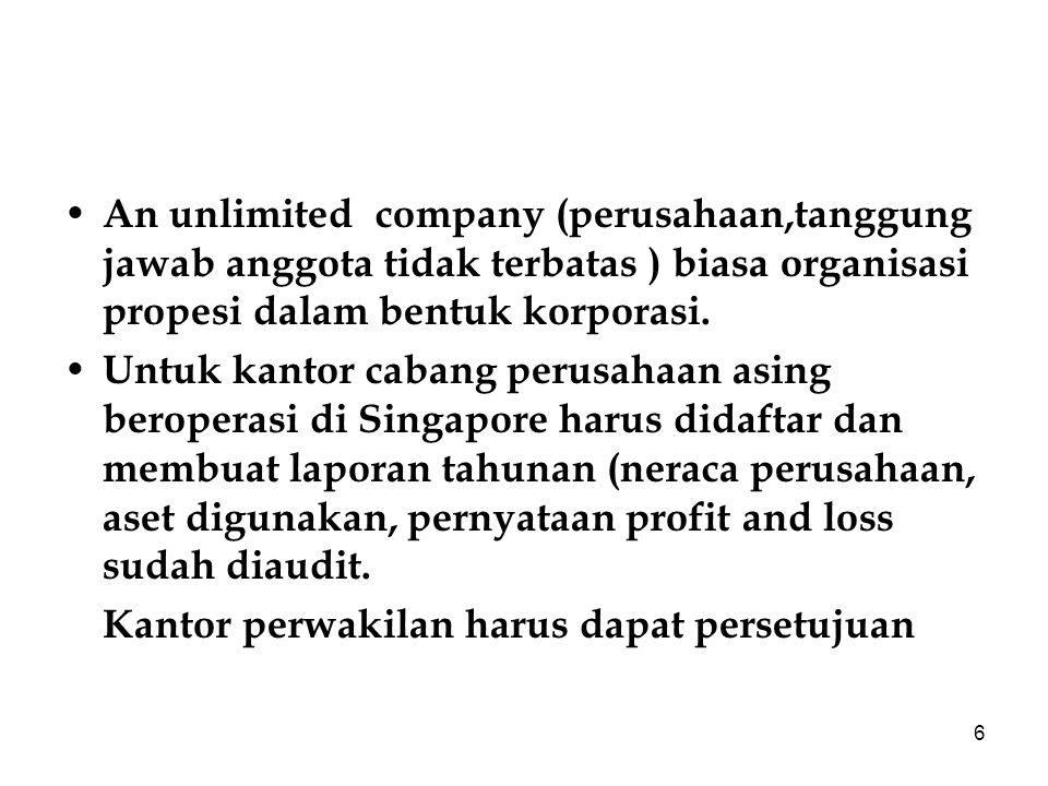 6 An unlimited company (perusahaan,tanggung jawab anggota tidak terbatas ) biasa organisasi propesi dalam bentuk korporasi.