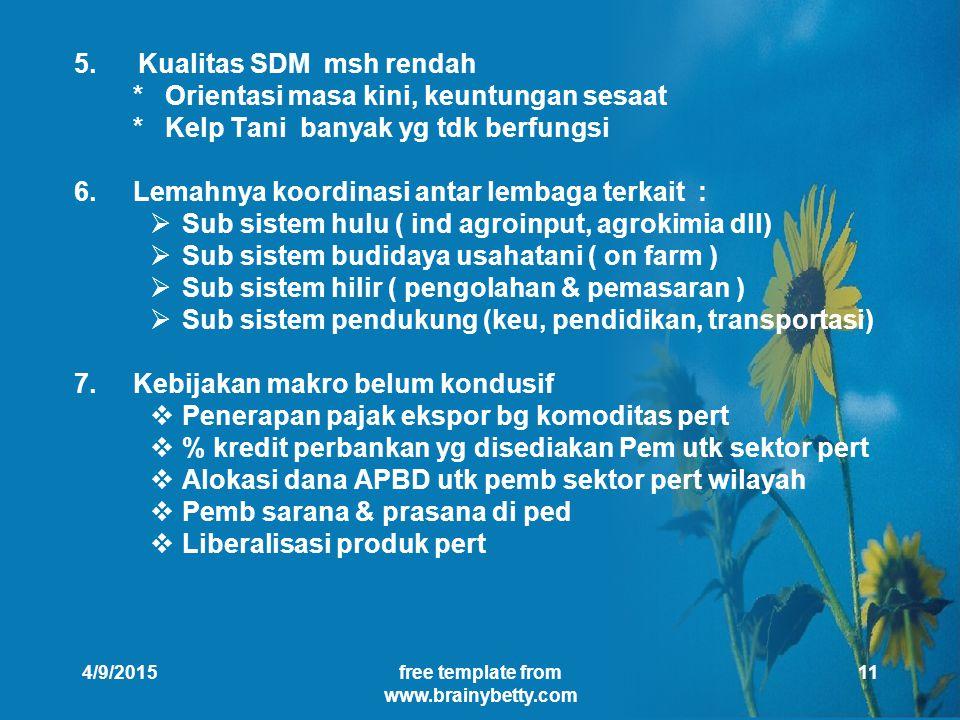 4/9/2015free template from www.brainybetty.com 11 5.Kualitas SDM msh rendah * Orientasi masa kini, keuntungan sesaat * Kelp Tani banyak yg tdk berfungsi 6.