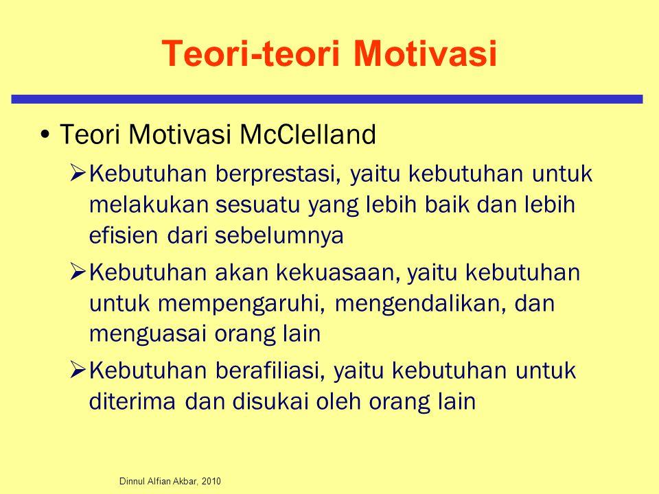 Dinnul Alfian Akbar, 2010 Teori-teori Motivasi Teori Motivasi McClelland  Kebutuhan berprestasi, yaitu kebutuhan untuk melakukan sesuatu yang lebih b