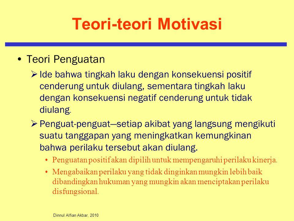 Dinnul Alfian Akbar, 2010 Teori-teori Motivasi Teori Penguatan  Ide bahwa tingkah laku dengan konsekuensi positif cenderung untuk diulang, sementara