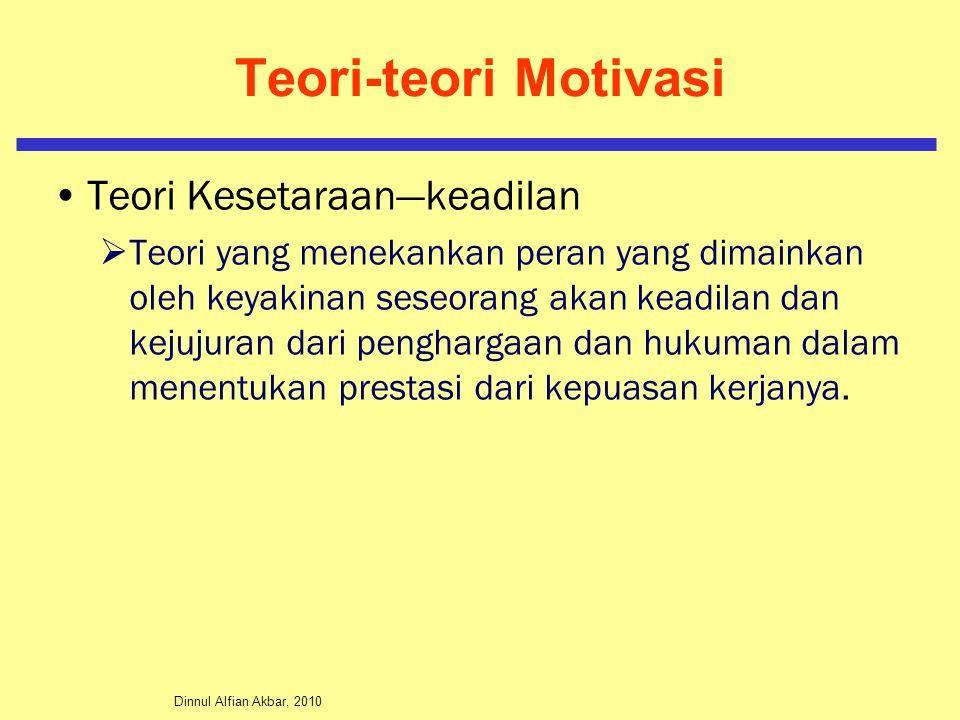 Dinnul Alfian Akbar, 2010 Teori-teori Motivasi Teori Kesetaraan—keadilan  Teori yang menekankan peran yang dimainkan oleh keyakinan seseorang akan ke