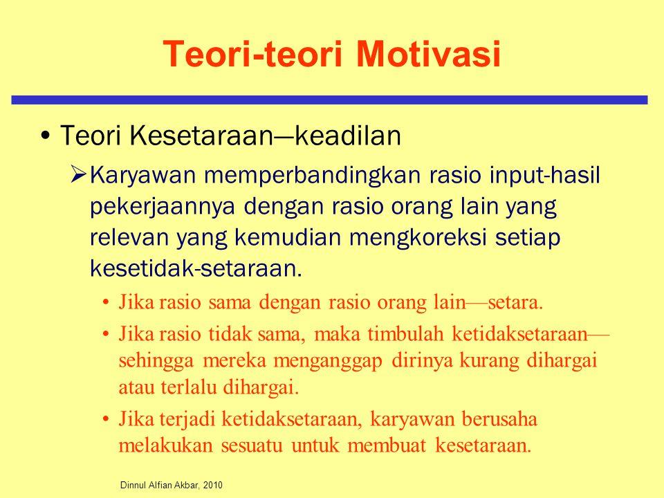 Dinnul Alfian Akbar, 2010 Teori-teori Motivasi Teori Kesetaraan—keadilan  Karyawan memperbandingkan rasio input-hasil pekerjaannya dengan rasio orang