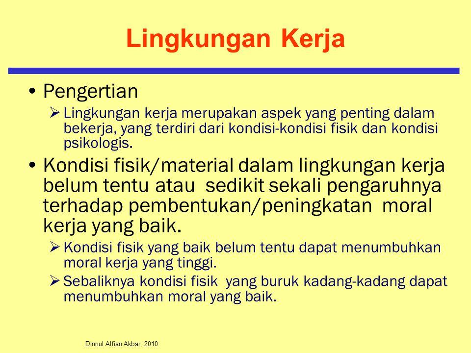 Dinnul Alfian Akbar, 2010 Lingkungan Kerja Pengertian  Lingkungan kerja merupakan aspek yang penting dalam bekerja, yang terdiri dari kondisi-kondisi