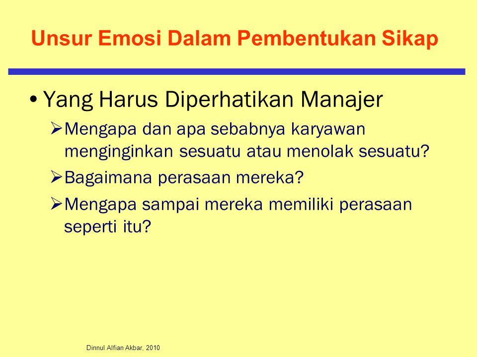 Dinnul Alfian Akbar, 2010 Unsur Emosi Dalam Pembentukan Sikap Yang Harus Diperhatikan Manajer  Mengapa dan apa sebabnya karyawan menginginkan sesuatu