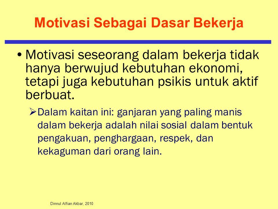 Dinnul Alfian Akbar, 2010 Motivasi Sebagai Dasar Bekerja Motivasi seseorang dalam bekerja tidak hanya berwujud kebutuhan ekonomi, tetapi juga kebutuha