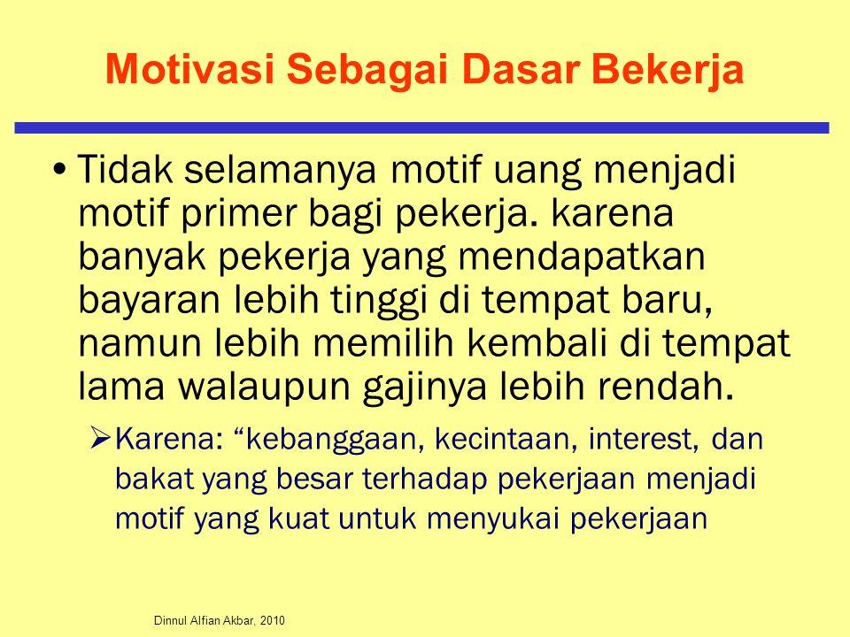 Dinnul Alfian Akbar, 2010 Motivasi Sebagai Dasar Bekerja Tidak selamanya motif uang menjadi motif primer bagi pekerja. karena banyak pekerja yang mend