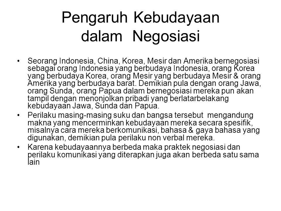 Pengaruh Kebudayaan dalam Negosiasi Seorang Indonesia, China, Korea, Mesir dan Amerika bernegosiasi sebagai orang Indonesia yang berbudaya Indonesia,