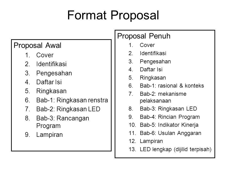 Format Proposal Proposal Awal 1.Cover 2.Identifikasi 3.Pengesahan 4.Daftar Isi 5.Ringkasan 6.Bab-1: Ringkasan renstra 7.Bab-2: Ringkasan LED 8.Bab-3: Rancangan Program 9.Lampiran Proposal Penuh 1.Cover 2.Identifikasi 3.Pengesahan 4.Daftar Isi 5.Ringkasan 6.Bab-1: rasional & konteks 7.Bab-2: mekanisme pelaksanaan 8.Bab-3: Ringkasan LED 9.Bab-4: Rincian Program 10.Bab-5: Indikator Kinerja 11.Bab-6: Usulan Anggaran 12.Lampiran 13.LED lengkap (dijilid terpisah)