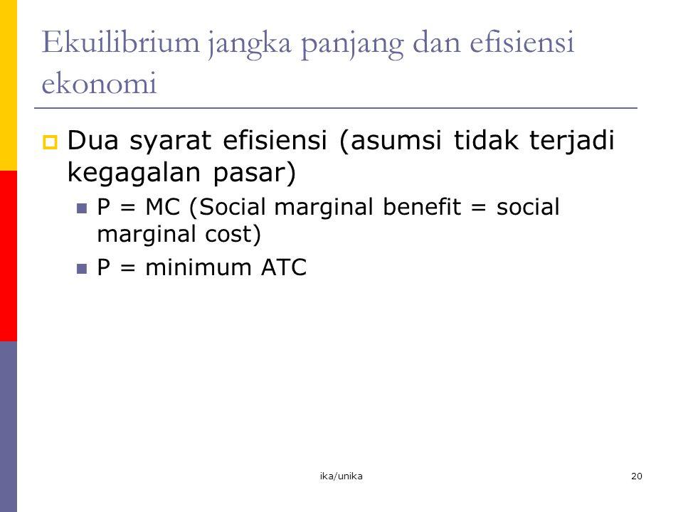 ika/unika20 Ekuilibrium jangka panjang dan efisiensi ekonomi  Dua syarat efisiensi (asumsi tidak terjadi kegagalan pasar) P = MC (Social marginal ben