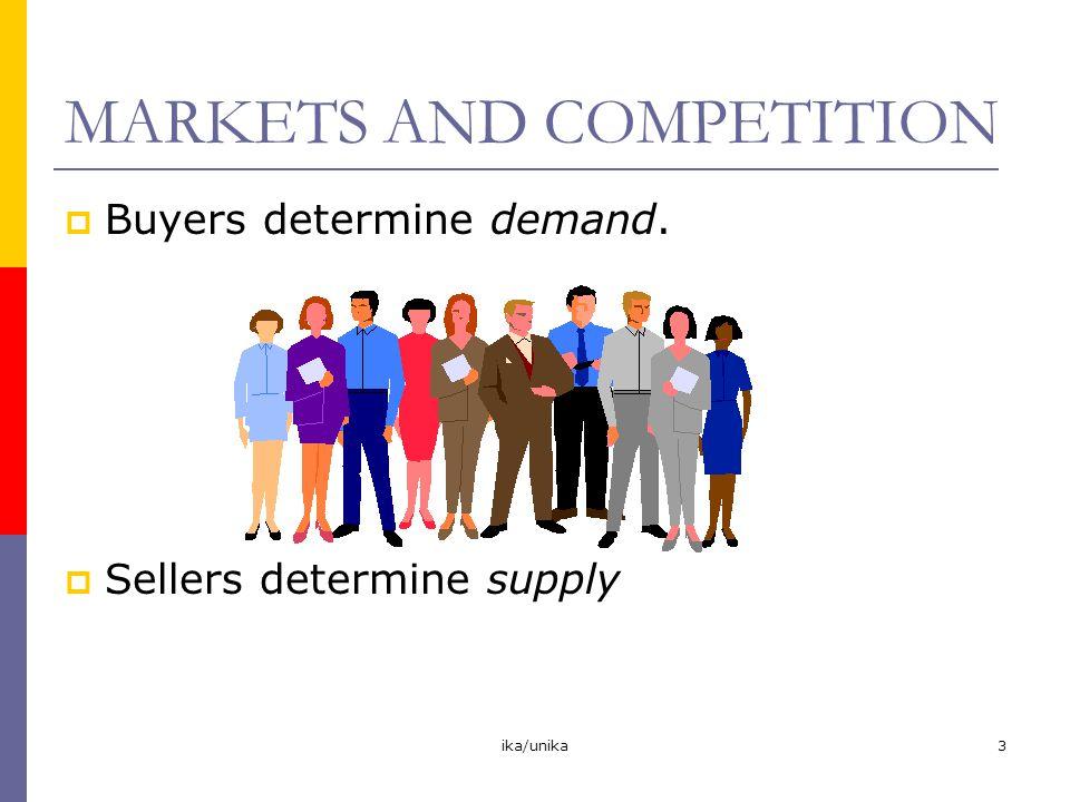 ika/unika4  Perfect Competition Produk sama Banyak pembeli dan penjual sehingga baik pembeli maupun penjual tidak dapat mempengaruhi harga Pembeli dan penjual bersifat price takers  Monopoly Hanya ada satu penjual.