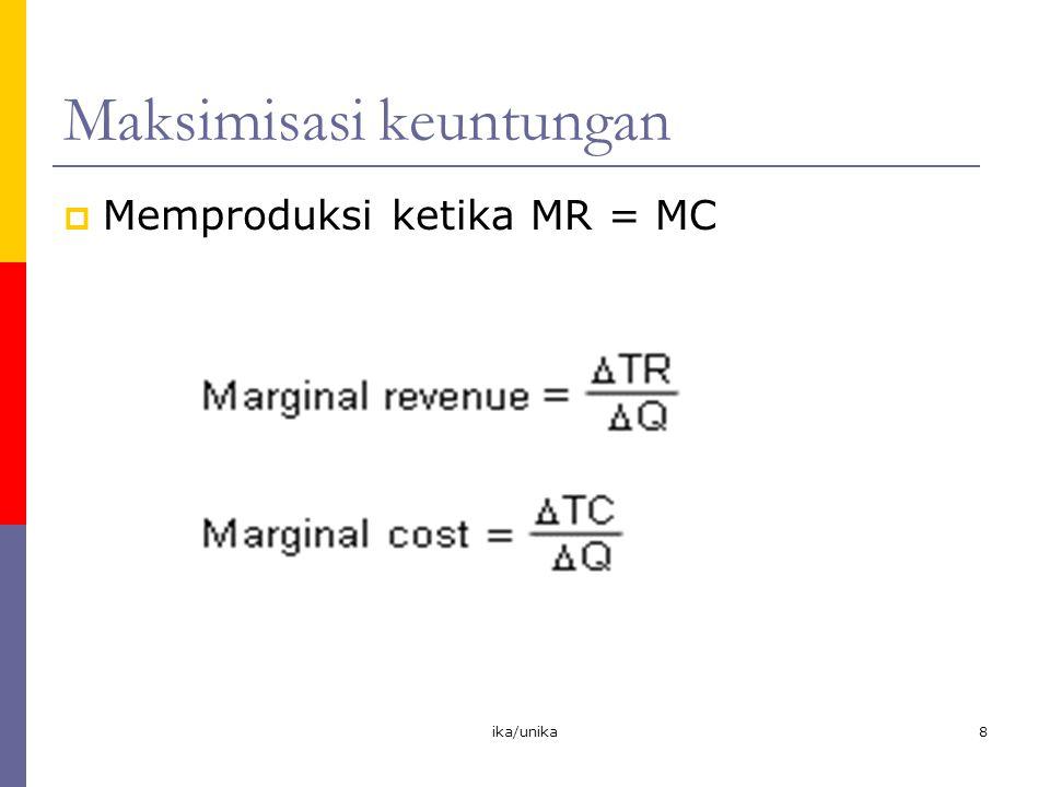 ika/unika8 Maksimisasi keuntungan  Memproduksi ketika MR = MC