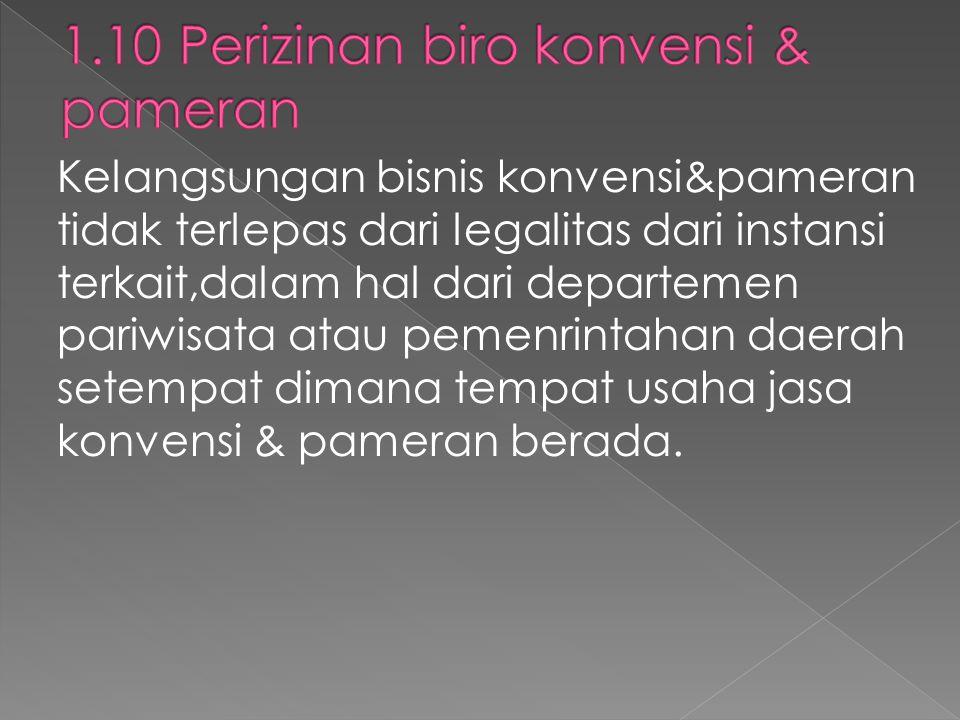Kelangsungan bisnis konvensi&pameran tidak terlepas dari legalitas dari instansi terkait,dalam hal dari departemen pariwisata atau pemenrintahan daera