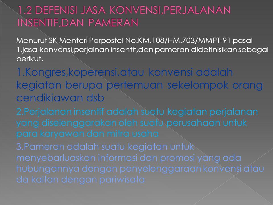 Menurut SK Menteri Parpostel No.KM.108/HM.703/MMPT-91 pasal 1,jasa konvensi,perjalnan insentif,dan pameran didefinisikan sebagai berikut. 1.Kongres,ko