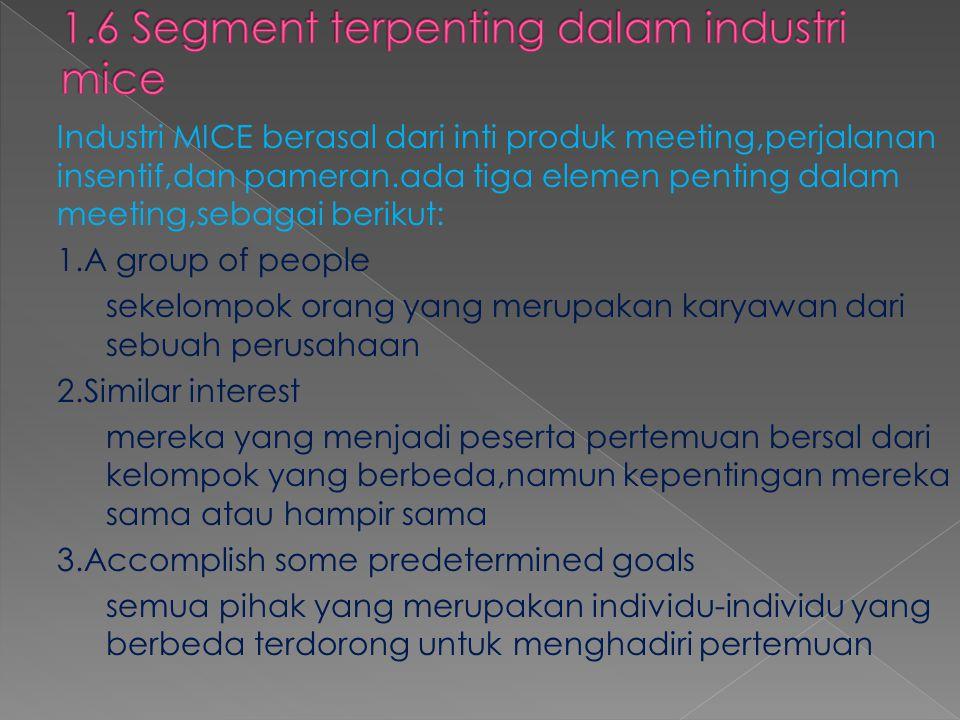 Industri MICE berasal dari inti produk meeting,perjalanan insentif,dan pameran.ada tiga elemen penting dalam meeting,sebagai berikut: 1.A group of peo