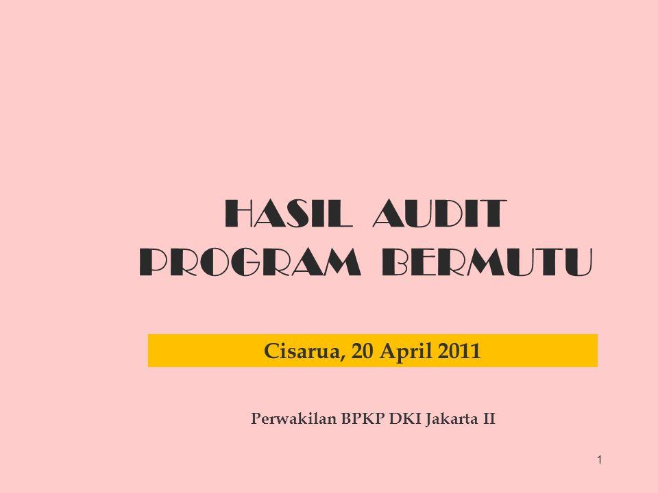 1 HASIL AUDIT PROGRAM BERMUTU Cisarua, 20 April 2011 Perwakilan BPKP DKI Jakarta II