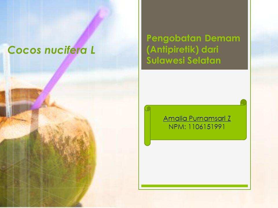 Pengobatan Demam (Antipiretik) dari Sulawesi Selatan Cocos nucifera L Amalia Purnamsari Z NPM: 1106151991