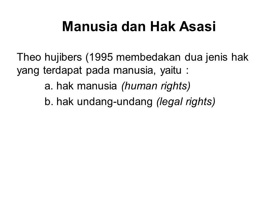 Manusia dan Hak Asasi Theo hujibers (1995 membedakan dua jenis hak yang terdapat pada manusia, yaitu : a. hak manusia (human rights) b. hak undang-und