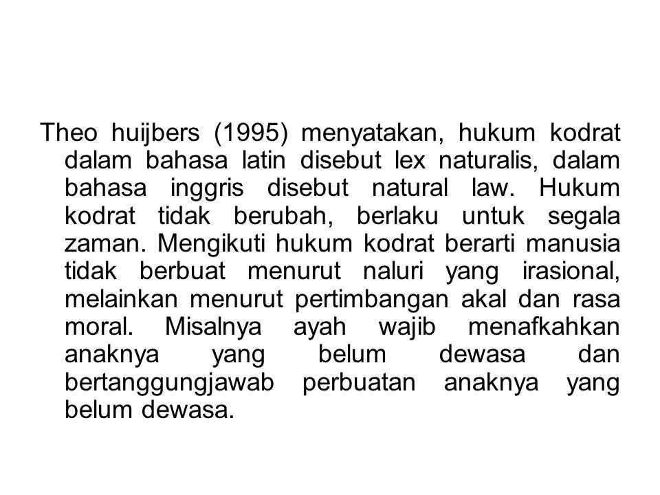 Theo huijbers (1995) menyatakan, hukum kodrat dalam bahasa latin disebut lex naturalis, dalam bahasa inggris disebut natural law. Hukum kodrat tidak b