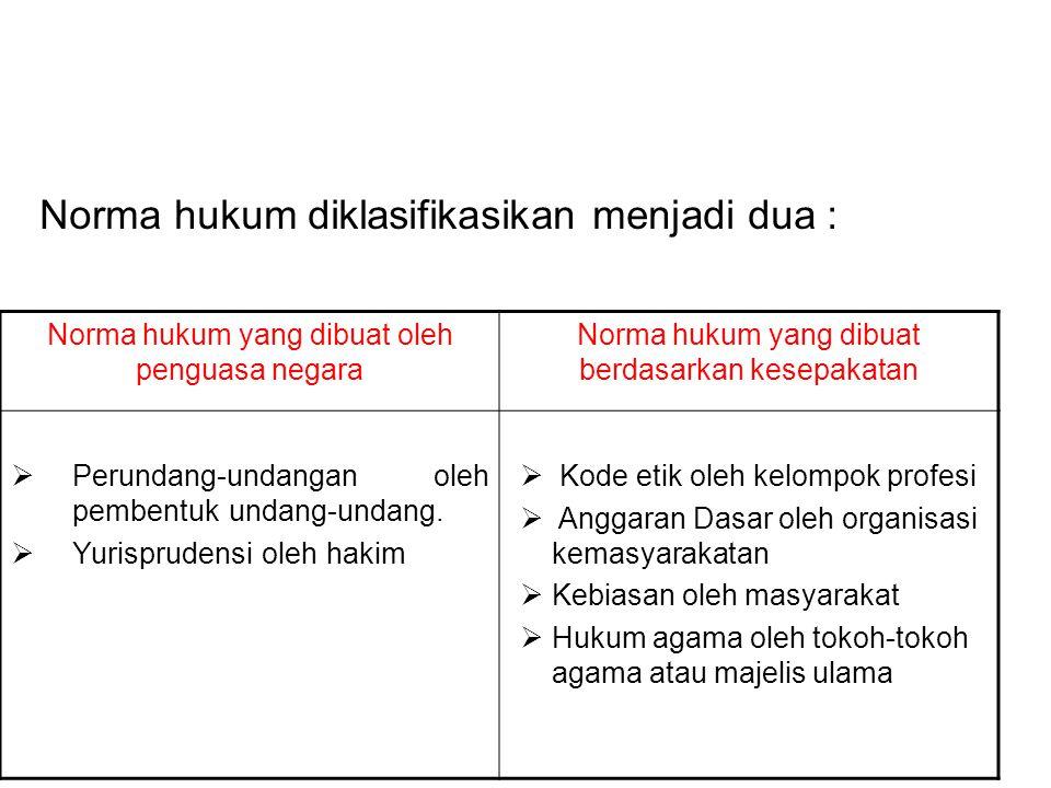 Norma hukum diklasifikasikan menjadi dua : Norma hukum yang dibuat oleh penguasa negara Norma hukum yang dibuat berdasarkan kesepakatan  Perundang-un