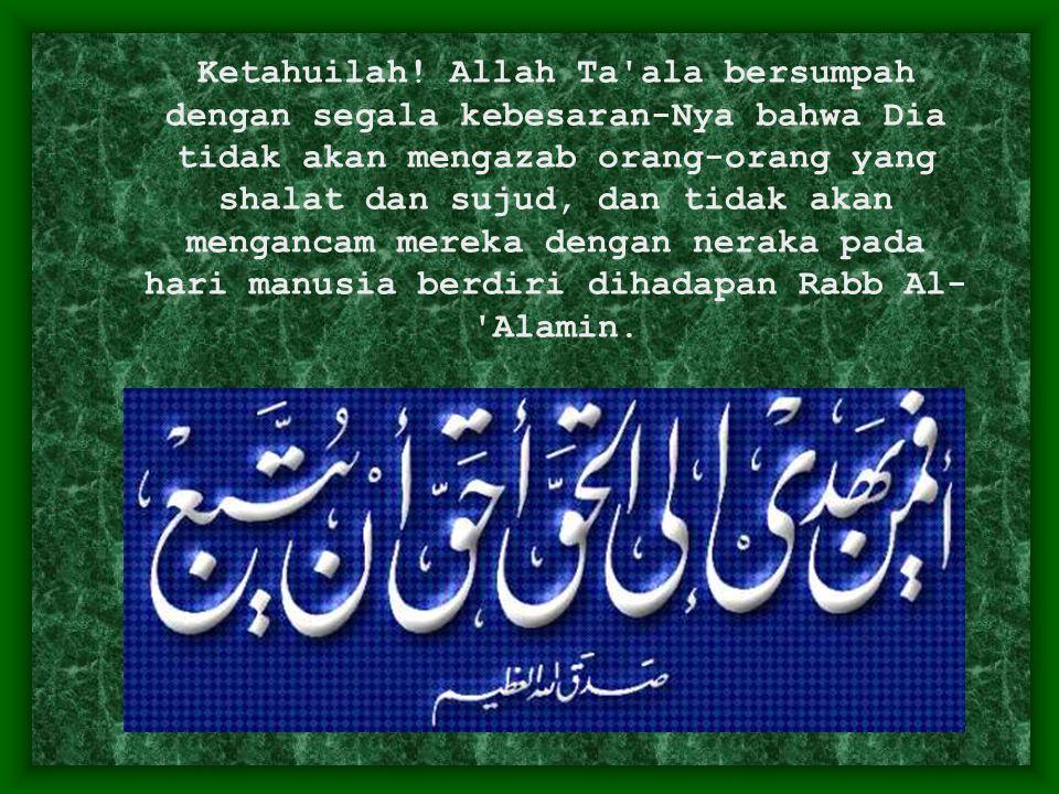 Ketahuilah! Allah Ta'ala bersumpah dengan segala kebesaran-Nya bahwa Dia tidak akan mengazab orang-orang yang shalat dan sujud, dan tidak akan menganc