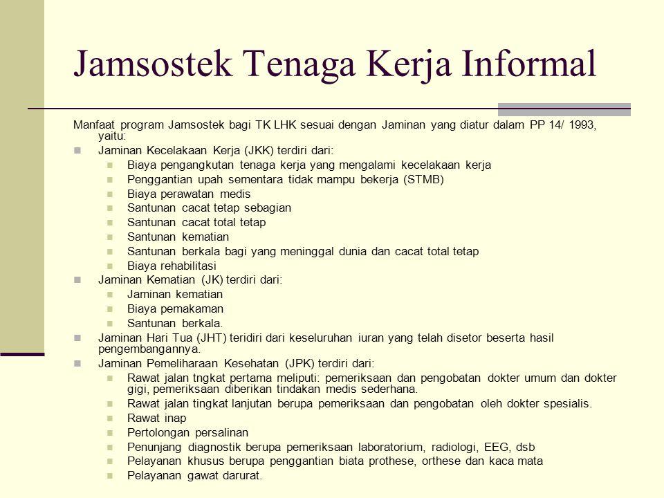 Jamsostek Tenaga Kerja Informal Manfaat program Jamsostek bagi TK LHK sesuai dengan Jaminan yang diatur dalam PP 14/ 1993, yaitu: Jaminan Kecelakaan K