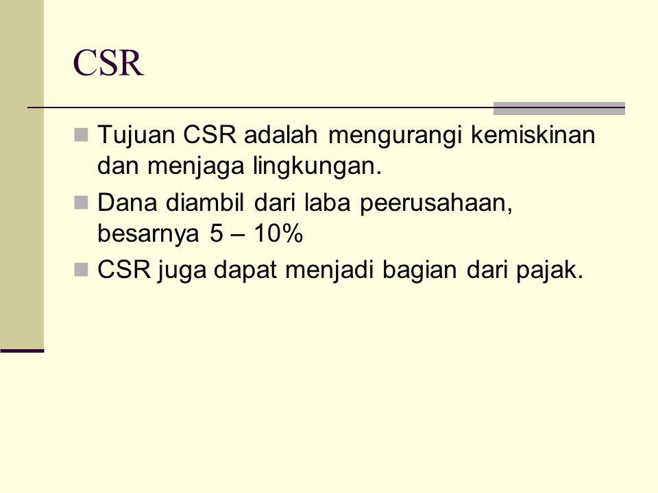 CSR Tujuan CSR adalah mengurangi kemiskinan dan menjaga lingkungan. Dana diambil dari laba peerusahaan, besarnya 5 – 10% CSR juga dapat menjadi bagian
