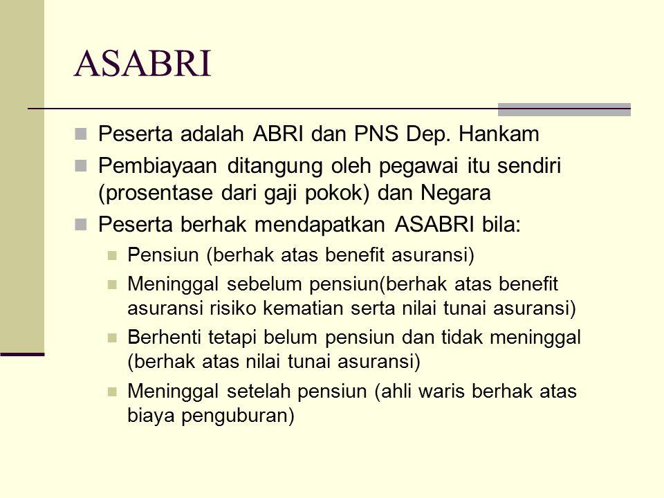 ASABRI Peserta adalah ABRI dan PNS Dep. Hankam Pembiayaan ditangung oleh pegawai itu sendiri (prosentase dari gaji pokok) dan Negara Peserta berhak me
