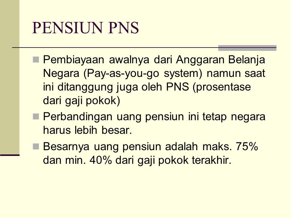 PENSIUN PNS Pembiayaan awalnya dari Anggaran Belanja Negara (Pay-as-you-go system) namun saat ini ditanggung juga oleh PNS (prosentase dari gaji pokok