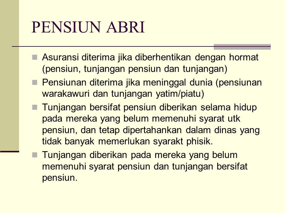PENSIUN ABRI Asuransi diterima jika diberhentikan dengan hormat (pensiun, tunjangan pensiun dan tunjangan) Pensiunan diterima jika meninggal dunia (pe