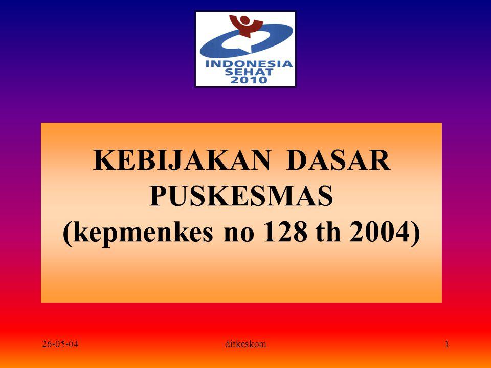 26-05-04ditkeskom2 Latar belakang TERCATAT: Puskesmas : 846 (221 diantaranya dengan fasilitas rawat inap) Puskesmas pembantu : 1797 Puskesmas keliling : 715