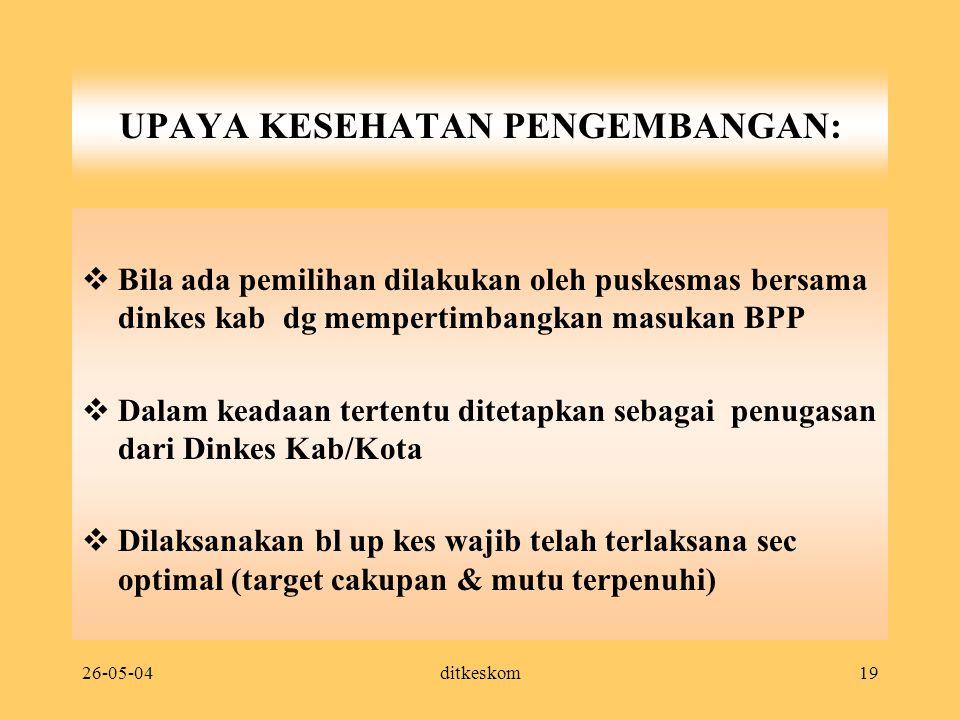 26-05-04ditkeskom19 UPAYA KESEHATAN PENGEMBANGAN:  Bila ada pemilihan dilakukan oleh puskesmas bersama dinkes kab dg mempertimbangkan masukan BPP  D