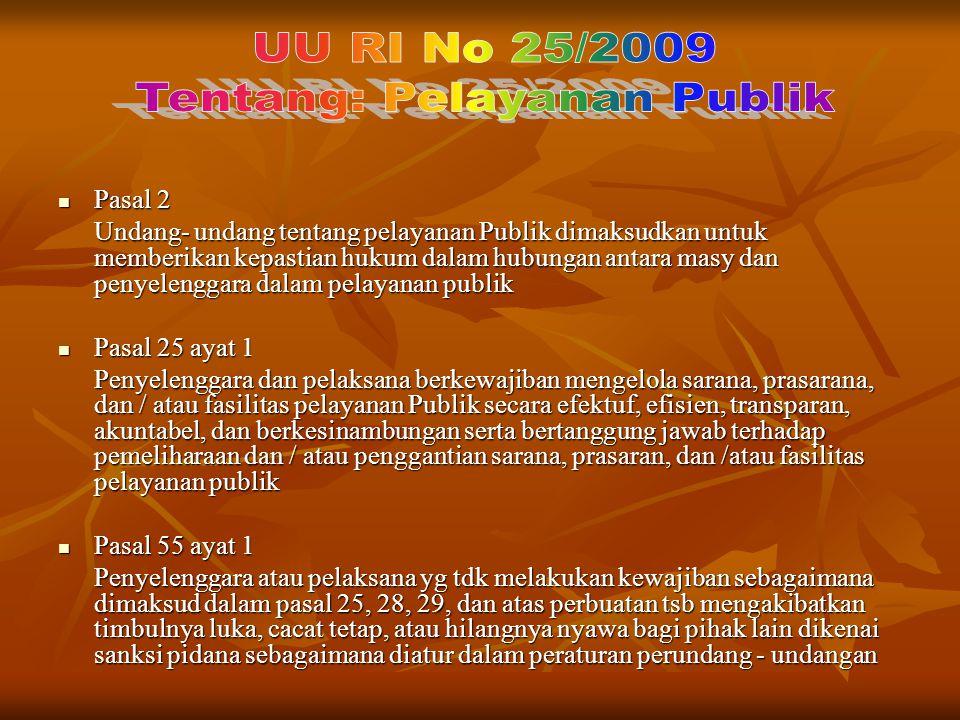Pasal 2 Pasal 2 Undang- undang tentang pelayanan Publik dimaksudkan untuk memberikan kepastian hukum dalam hubungan antara masy dan penyelenggara dala