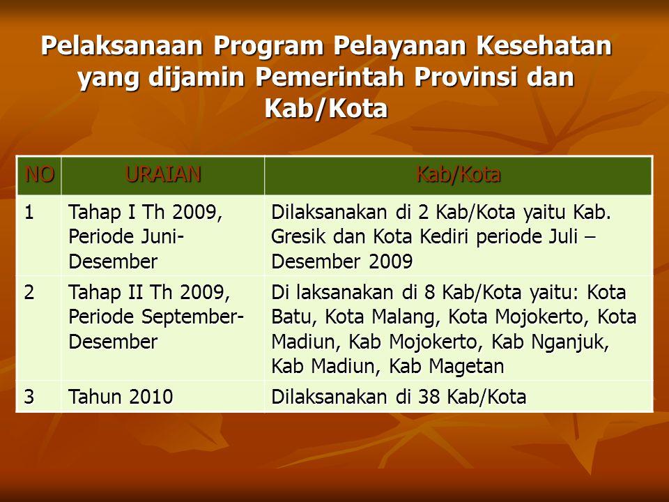 Pelaksanaan Program Pelayanan Kesehatan yang dijamin Pemerintah Provinsi dan Kab/Kota NOURAIANKab/Kota 1 Tahap I Th 2009, Periode Juni- Desember Dilak