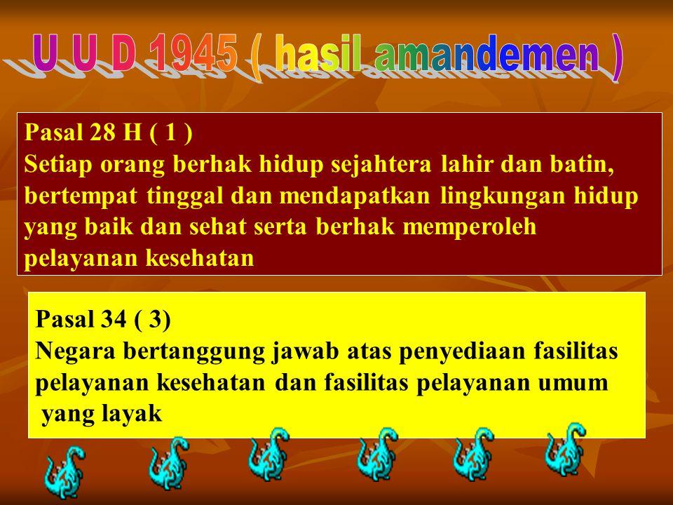 Pasal 28 H ( 1 ) Setiap orang berhak hidup sejahtera lahir dan batin, bertempat tinggal dan mendapatkan lingkungan hidup yang baik dan sehat serta ber