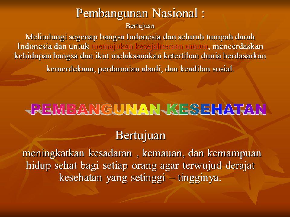 Pembangunan Nasional : Bertujuan Melindungi segenap bangsa Indonesia dan seluruh tumpah darah Indonesia dan untuk memajukan kesejahteraan umum, mencer