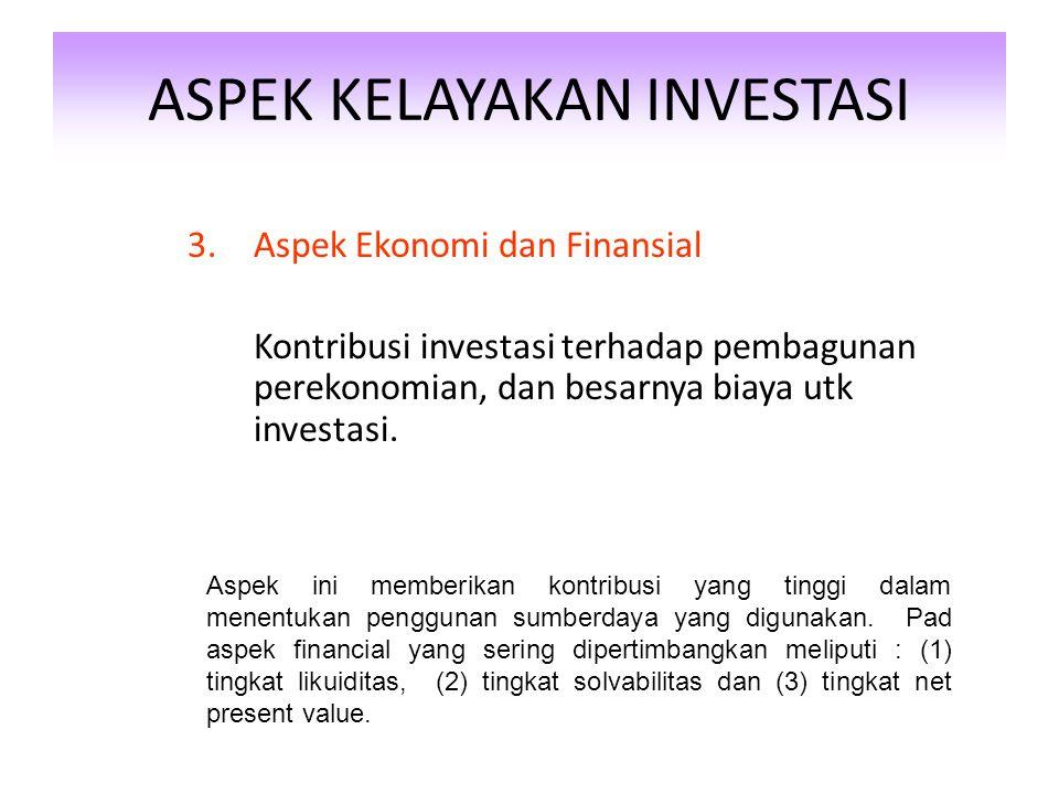 ASPEK KELAYAKAN INVESTASI 2.Aspek Sosial Budaya Implikasi sosial dari investasi terhadap masyarakat. Legal dari investasi Aspek soail dan budaya merup