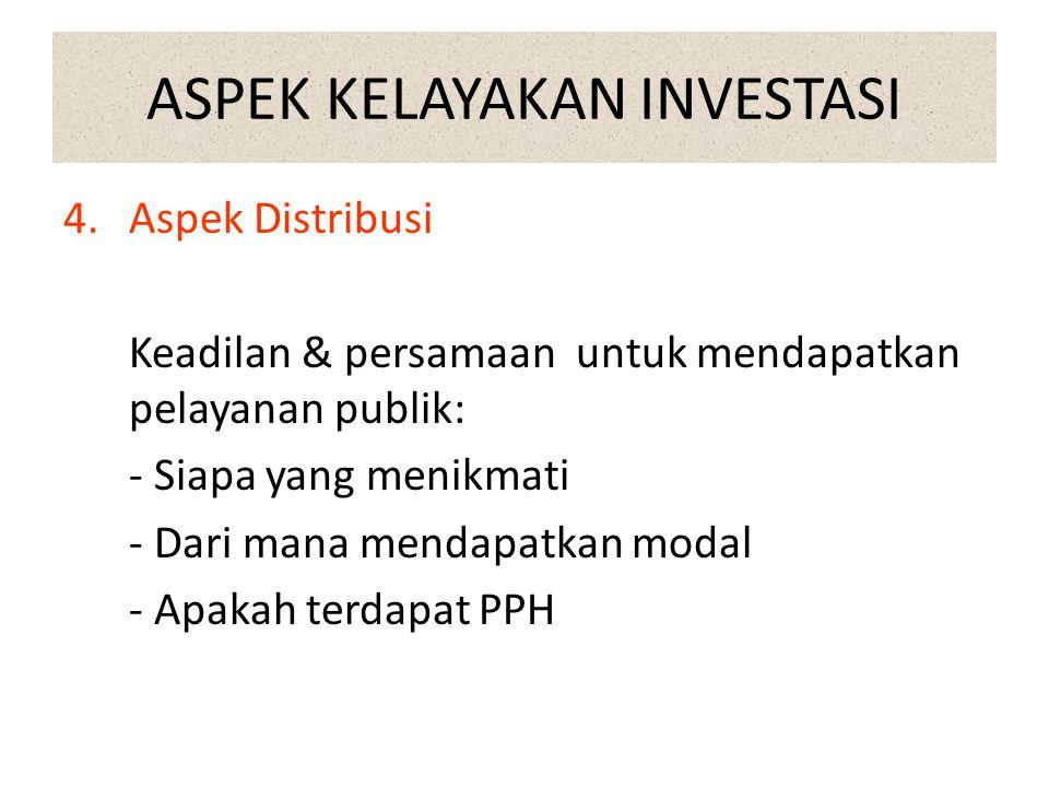 ASPEK KELAYAKAN INVESTASI 3.Aspek Ekonomi dan Finansial Kontribusi investasi terhadap pembagunan perekonomian, dan besarnya biaya utk investasi. Aspek