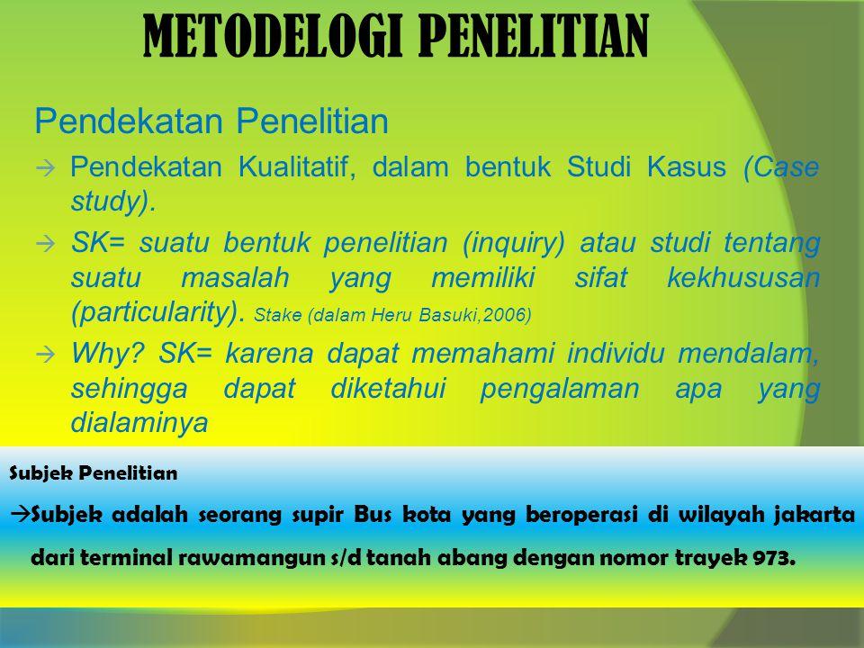 METODELOGI PENELITIAN Pendekatan Penelitian  Pendekatan Kualitatif, dalam bentuk Studi Kasus (Case study).