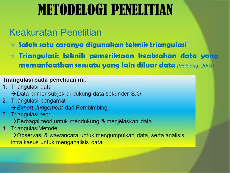 METODELOGI PENELITIAN Keakuratan Penelitian  Salah satu caranya digunakan teknik triangulasi  Triangulasi: teknik pemeriksaan keabsahan data yang memanfaatkan sesuatu yang lain diluar data (Moleong, 2004) Triangulasi pada penelitian ini: 1.Triangulasi data  Data primer subjek di dukung data sekunder S.O 2.Triangulasi pengamat  Expert Judgement dari Pembimbing 3.Triangulasi teori  Berbagai teori untuk mendukung & menjelaskan data 4.TriangulasiMetode  Observasi & wawancara untuk mengumpulkan data, serta analisis intra kasus untuk menganalisis data