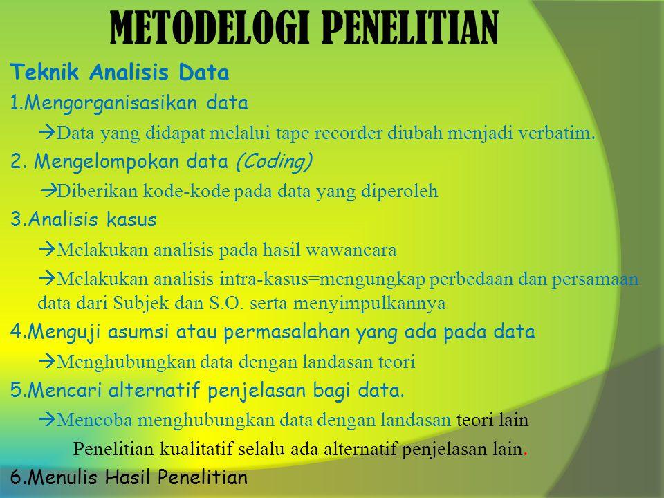 METODELOGI PENELITIAN Teknik Analisis Data 1.Mengorganisasikan data  Data yang didapat melalui tape recorder diubah menjadi verbatim.