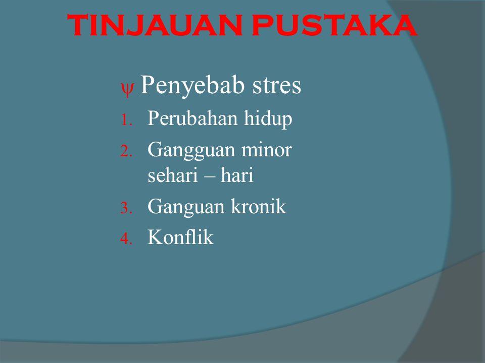 TINJAUAN PUSTAKA  Penyebab stres 1.Perubahan hidup 2.