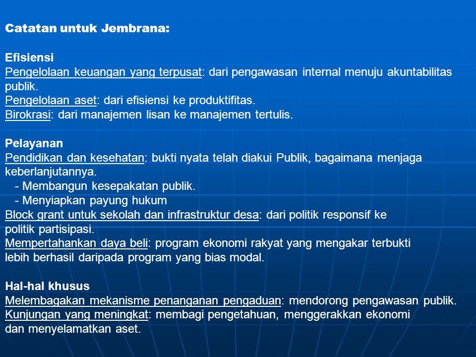 Catatan untuk Jembrana: Efisiensi Pengelolaan keuangan yang terpusat: dari pengawasan internal menuju akuntabilitas publik. Pengelolaan aset: dari efi