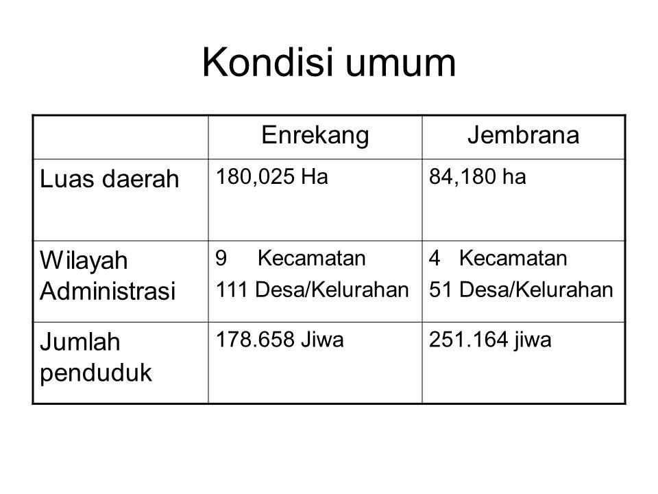 Kondisi umum EnrekangJembrana Luas daerah 180,025 Ha84,180 ha Wilayah Administrasi 9 Kecamatan 111 Desa/Kelurahan 4 Kecamatan 51 Desa/Kelurahan Jumlah