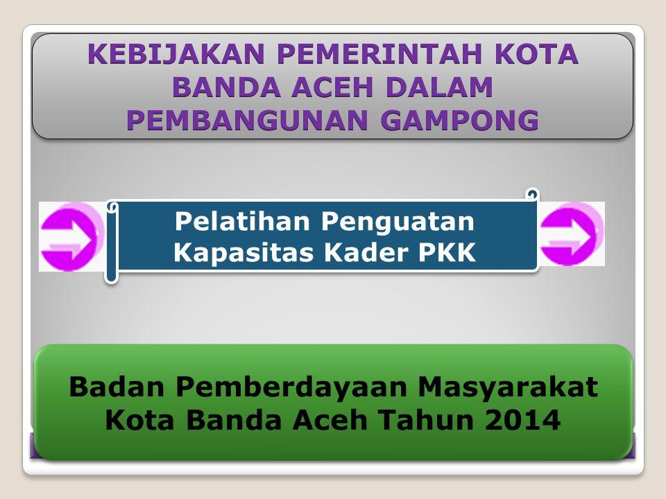 Pelatihan Penguatan Kapasitas Kader PKK Badan Pemberdayaan Masyarakat Kota Banda Aceh Tahun 2014 Badan Pemberdayaan Masyarakat Kota Banda Aceh Tahun 2014